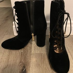 Zara Black Velvet Lace Up Boots